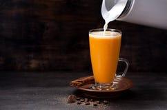Smoothie de latte de potiron photos libres de droits