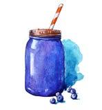 Smoothie del arándano Mason Jar watercolor Pintado a mano Fotos de archivo