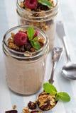 Smoothie del chocolate con el granola para el desayuno Imagenes de archivo