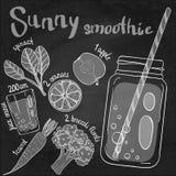 Smoothie del ejemplo de la receta (cóctel) Illus dibujado mano del vector Fotografía de archivo libre de regalías