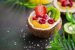 Smoothie delicioso del mango y del coco con el SE de las frutas y de las bayas fotografía de archivo
