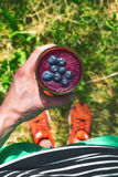 Smoothie drink a sport man in a nature. Glasses of smoothie with berry and mint. Berry, leaf and lime, raspberriesFruit Healt. Hy food royalty free stock photography