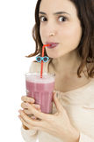 Smoothie drinking Royalty Free Stock Image
