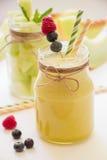 Smoothie et salade de melon dans des 2 pots Images libres de droits