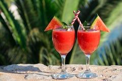Smoothie för två vattenmelon på sommarferier vid havet Arkivfoton
