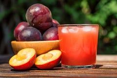Smoothie frais de prune avec des prunes étroites Image libre de droits