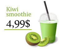 Smoothie fresh ripe natural kiwi fruit a half and slice, plastic cup to go, straw, tube. Beautiful vector vertical illustration fr. Eshness healthy diet drink Royalty Free Stock Photography