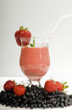 Smoothie with fresh strawberry Royalty Free Stock Photos