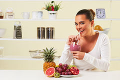 Smoothie fruit drink health delicious sip weight loss diet Stock Images