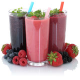 Smoothie fruit juice with fresh fruits isolated stock image