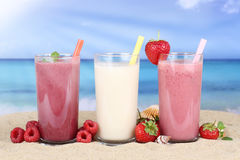 Smoothie fruit juice with fruits on the beach Stock Image
