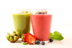 Fruit juice for summer. Smoothie, fruit juice for summer on white royalty free stock photography
