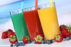Smoothie fruit orange juice with fruits Royalty Free Stock Photography