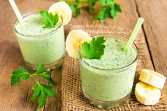 Smoothie with herbs and banana Royalty Free Stock Photos