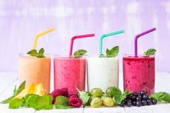Smoothie i ett exponeringsglas och nya frukter och bär Royaltyfria Bilder