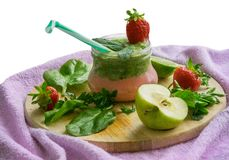 Smoothie jar strawberry and banana, mint cocktail. Healthy food Stock Images