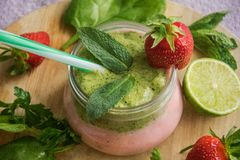 Smoothie jar strawberry and banana, mint cocktail. Healthy food Royalty Free Stock Images