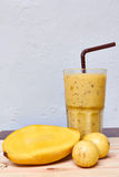 Smoothie juice, mix Mango with passion fruit Royalty Free Stock Image