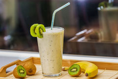 Smoothie with kiwi and banana Royalty Free Stock Photography