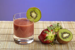Smoothie of kiwi and strawberry Royalty Free Stock Images