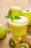 A smoothie made from kiwi, pears and apple Stock Photo
