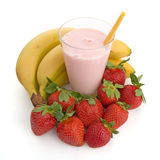 Smoothie made with strawberries and bananas royalty free stock photos