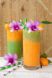 Smoothie made from a variety of fruits Royalty Free Stock Images