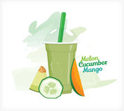 Smoothie melon cucumber mango Royalty Free Stock Photos