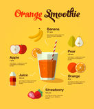 Smoothie natural de la fruta de la comida Foto de archivo