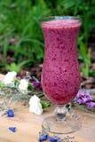 Smoothie púrpura con la flor azul y blanca Foto de archivo libre de regalías