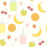 Smoothie pattern with funny fruits. Vector EPS 10 hand drawn illustration Royalty Free Stock Image