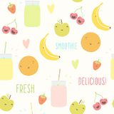 Smoothie pattern with funny fruits. Vector EPS 10 hand drawn illustration Stock Images