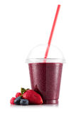 Smoothie in plastic cup Stock Photos