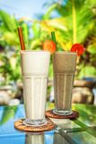 Smoothie protein shake with fresh fruit. Power and energy drink. Healthy vitamin breakfast cocktail on the table stock photo