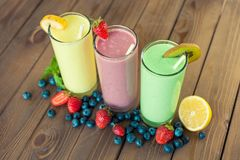 Smoothie. Protein shake fruit breakfast drink health Royalty Free Stock Photo