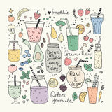 Smoothie and Raw food collection. Hand drawn vector icons Stock Photo