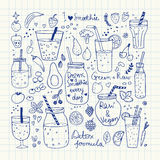 Smoothie and Raw food collection. Hand drawn vector icons. Vector illustration Royalty Free Stock Photo