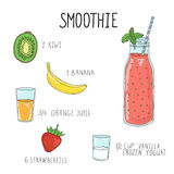 Smoothie recipe with a bottle and ingredients. Detox, healthy eating. Smoothie recipe with a bottle and ingredients. Detox and healthy eating. Hand-drawing Stock Photography