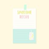Smoothie recipe card. Stock Photos