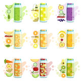 Smoothie Recipe Set. Of Bright Color Isolated Vector Drawings In Simple Cartoon Design On White Background Royalty Free Stock Images