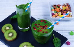 Smoothie spinach. In a black and white background Stock Images