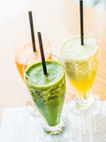 smoothie from spinach, carrots and pears Royalty Free Stock Image