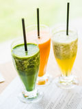 smoothie from spinach, carrots and pears Royalty Free Stock Photography