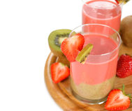 Smoothie of strawberries and kiwi Stock Photography