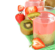 Smoothie of strawberries and kiwi Stock Image