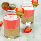 Smoothie of strawberries and kiwi Royalty Free Stock Photography