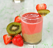 Smoothie of strawberries and kiwi Royalty Free Stock Photos