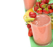 Smoothie of strawberries and kiwi Stock Photo
