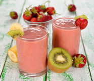 Smoothie of strawberries and kiwi Stock Images