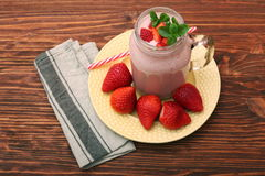 Smoothie with strawberries and milk Stock Image